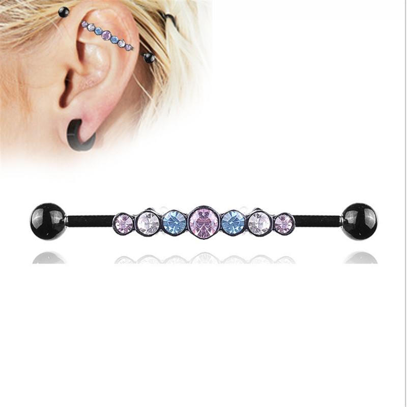 [해외]1PCS 2019 New Stainless Steel Ear Bone Nail Piercing Fashion Crystal Studs Earring Body Jewelry Ear Tunnel Barbell Lip Jewelry /1PCS 2019 New Stai