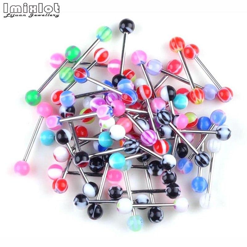 [해외]Wholesale 30pcs Colorful Stainless Steel Acrylic Ball Barbell Tongue Piercing Straight Bar Tongue Ring Body Jewelry Gifts/Wholesale 30pcs Colorful