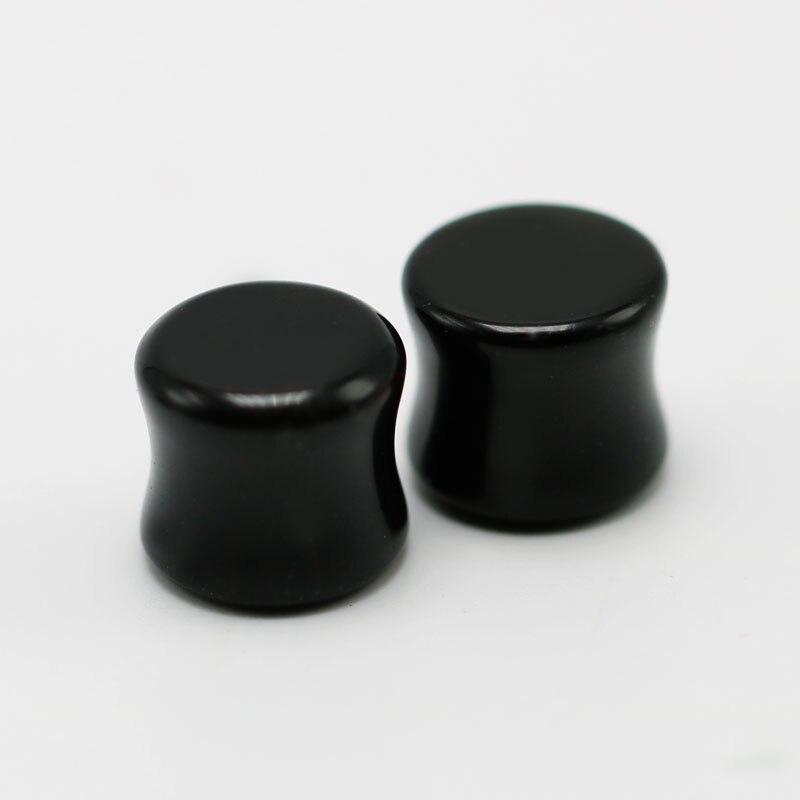 [해외]2pcs fashion obsidian black STONE ear gauge plugs 6-16mm expansion stretchers tunnel taper body piercing anti-allergic jewelry/2pcs fashion obsidi