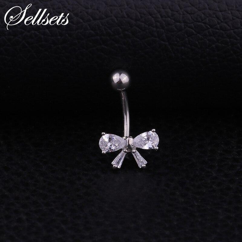 [해외]Sellsets Wholesale 1pc Stainless Steel Bowknot Body Jewelry AAA Cubic Zirconia Navel Piercing Helix Belly Button Rings/Sellsets Wholesale 1pc Stai
