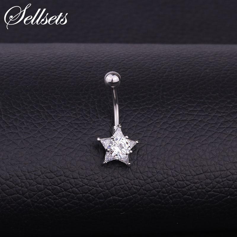 [해외]Sellsets Stainless Steel Navel Piercing Helix Belly Button Rings Wholesale AAA Cubic Zirconia Star Shape Body Jewelry /Sellsets Stainless Steel Na
