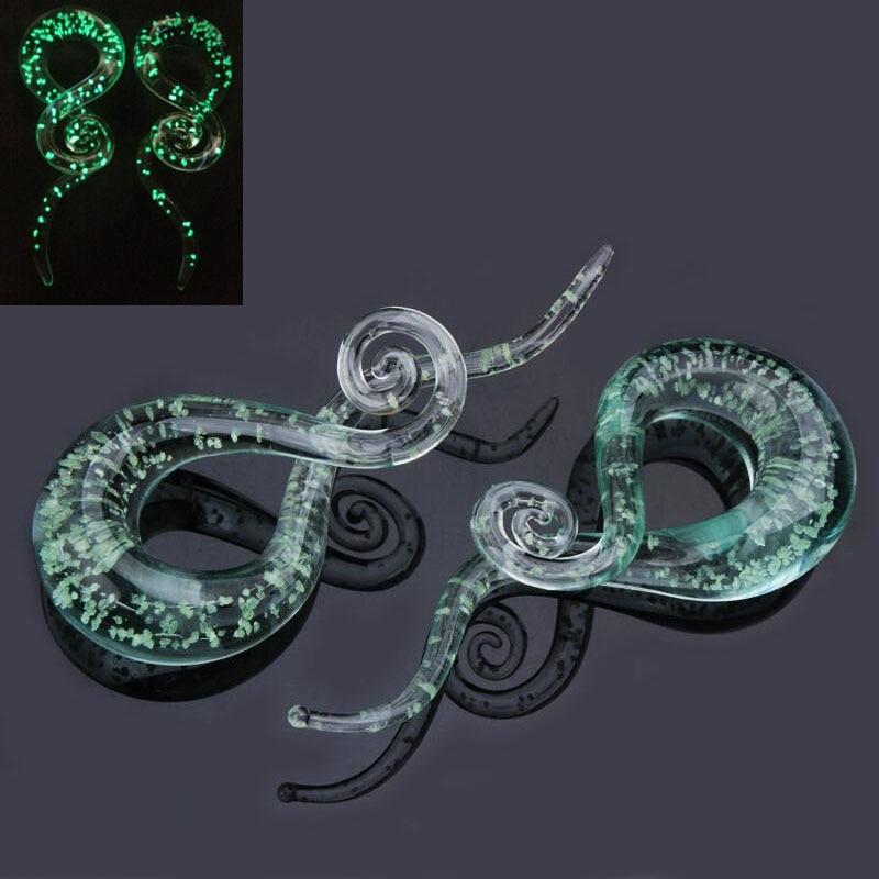 [해외]1 Pair Glass Ear Spiral Taper Gauge and Tunnels Earring Green Glass Glow in Dark Gauges Expander Stretcher Plugs Piercing Body/1 Pair Glass Ear Sp