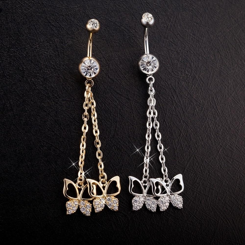 [해외]zircon crystal Surgical Steel Double petals Belly Button Rings Sexy Dangle Navel Piercing Rings Rhinestone Body Jewelry/zircon crystal Surgical St