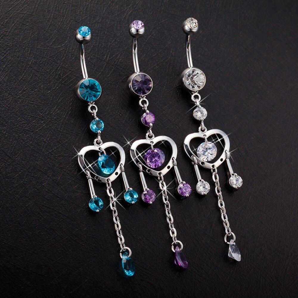 [해외]hollow out love zircon crystal Surgical Steel Belly Button Rings Drop Dangle tassel Navel Piercing Rings  Body Jewelry/hollow out love zircon crys