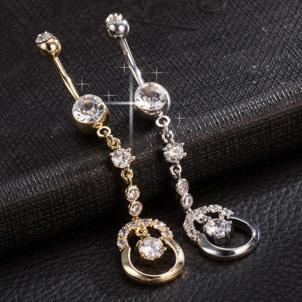 [해외]hollow out calabash zircon crystal Surgical Steel Belly Button Rings Sexy Dangle Navel Piercing Rings Rhinestone Body Jewelry/hollow out calabash