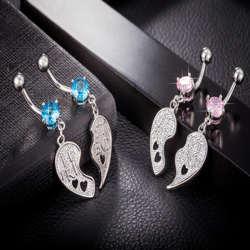 [해외]a couple zircon crystal Surgical Steel Belly Button Rings Drop Dangle tassel  Navel Piercing Rings  Body Jewelry/a couple zircon crystal Surgical