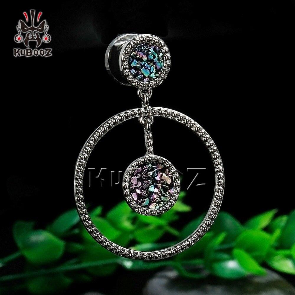 [해외]KUBOOZ stainless steel circle dangle ear plugs femal ear tunnel body jewelry expander gauges piercing pair selling stretcher/KUBOOZ stai