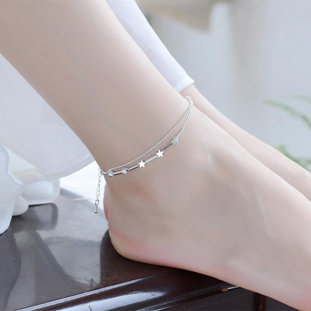[해외]Trendy 925 stamped silver plated Star Anklets Double Layer Foot Chain Accessories  Silver Bracelets For Girl Engagement/Trendy 925 stamped silver
