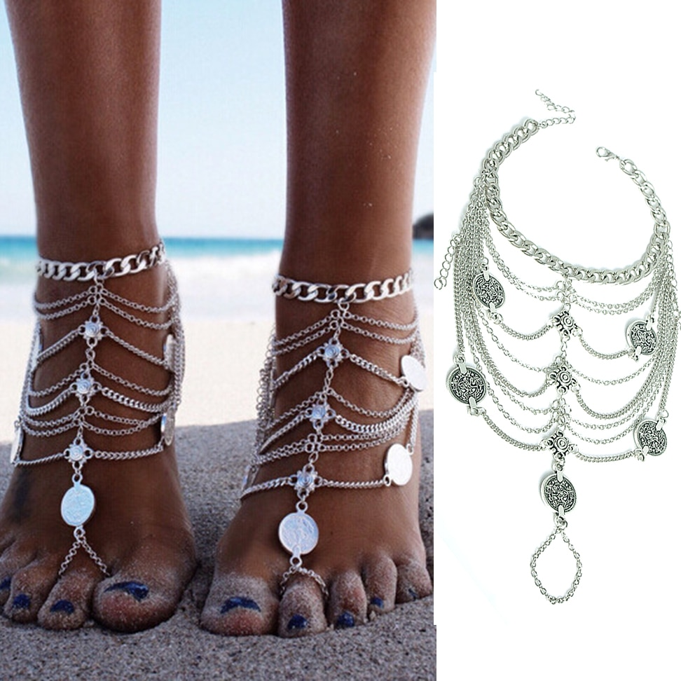 [해외]KLEEDER Foot Chain Ankle Bracelet Tassel Coin Anklet Toe Crochet Barefoot Sandals Beach Jewelry/KLEEDER Foot Chain Ankle Bracelet Tassel Coin Ankl