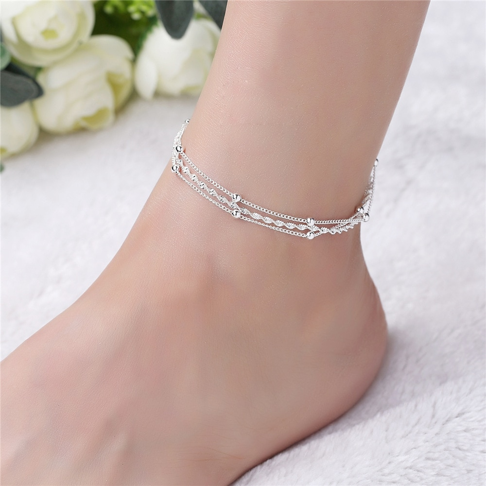 [해외]Fashion 925 Sterling Silver Anklet fine Jewelry bead Simple Foot Chain For Women Girl S925 Silver Ankle Chain Leg Bracelet/Fashion 925 Sterling Si