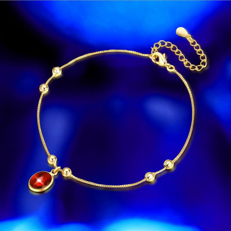 [해외]Everoyal Charm Red Crystal Oval Anklets For Women Jewelry Fashion Gold Link Chain Anklet Girl Lady Wedding Jewelry Female Gift/Everoyal Charm Red