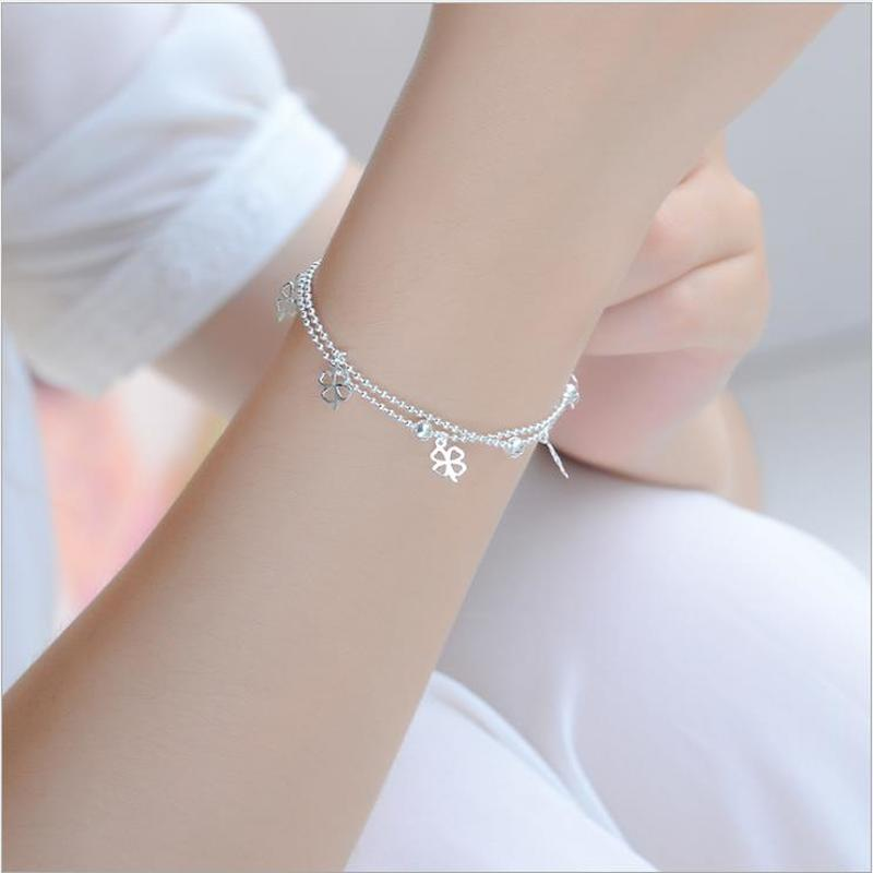 [해외]Everoyal Trendy Female Clover Double Layer Anklets For Women Accessories Fashion Silver 925 Bracelet Girl Bride Wedding Jewelry/Everoyal Trendy Fe