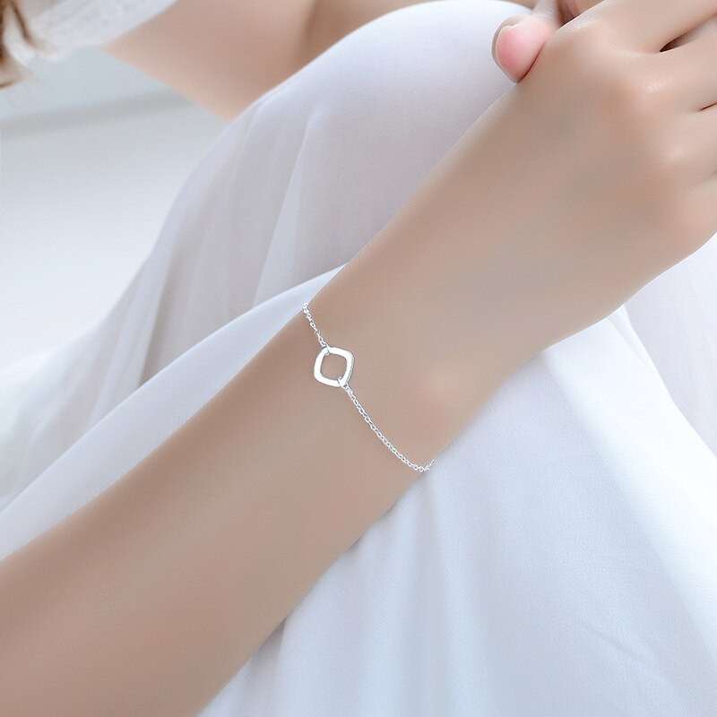 [해외]Everoyal Charm Women Bracelets Silver 925 Jewelry Square Female Elegant Silver Anklets For Girl Birthday Party Accessories Lady /Everoyal Charm Wo
