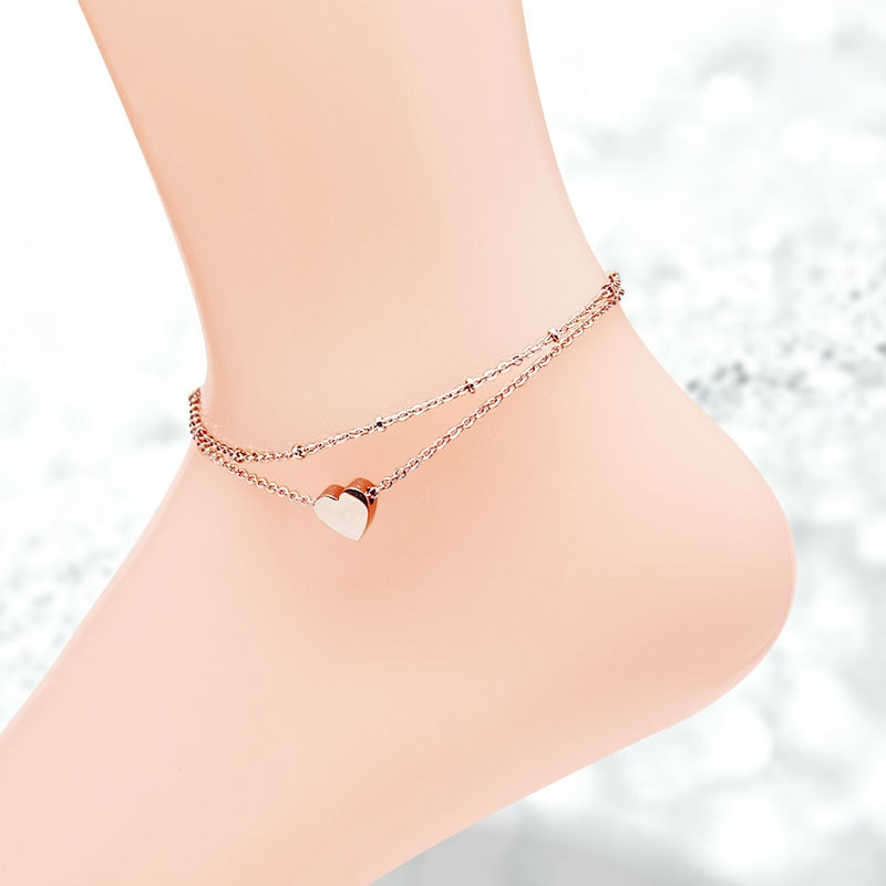 [해외]Martick Single Heart Double Layer Anklet For Women Rose Gold-color Fashion Jewelry Summer Jewelry Never Fade A216/Martick Single Heart Double Laye
