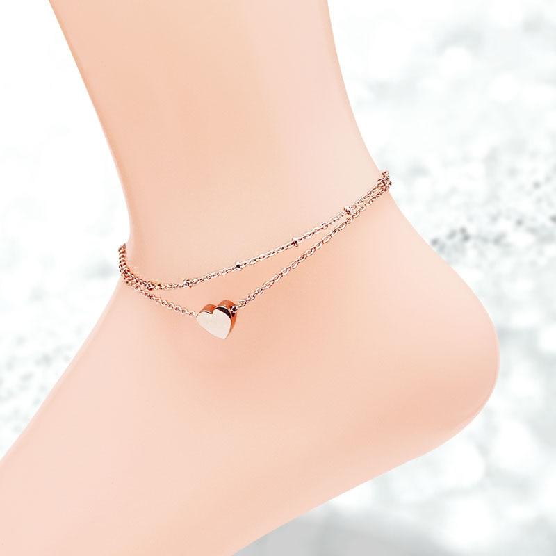 [해외]Martick Single Heart Double Layer Anklet For Women Rose Gold-color Fashion Jewelry Summer Jewelry Never Fade A216/Martick Single Heart Double Laye