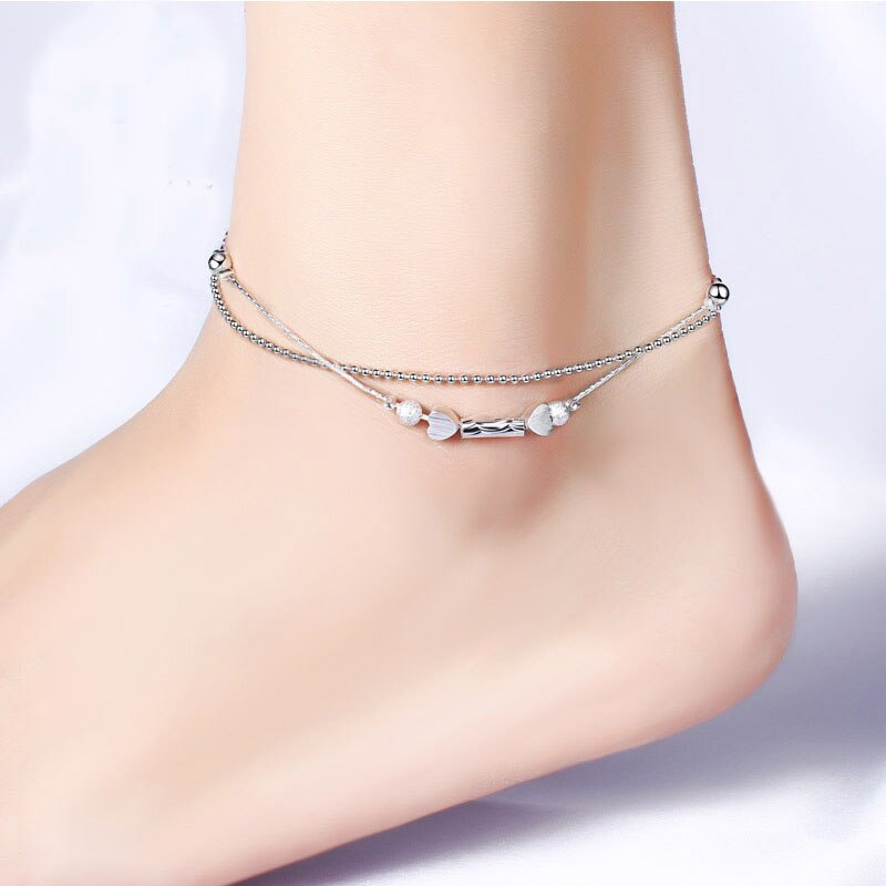 [해외]Fashion 925 Sterling Silver Prevent allergy Anklet Bracelet 2 Layer Ball Heart Women Summer Charm Chain Sandal Beach Foot Anklet/Fashion 925 Sterl