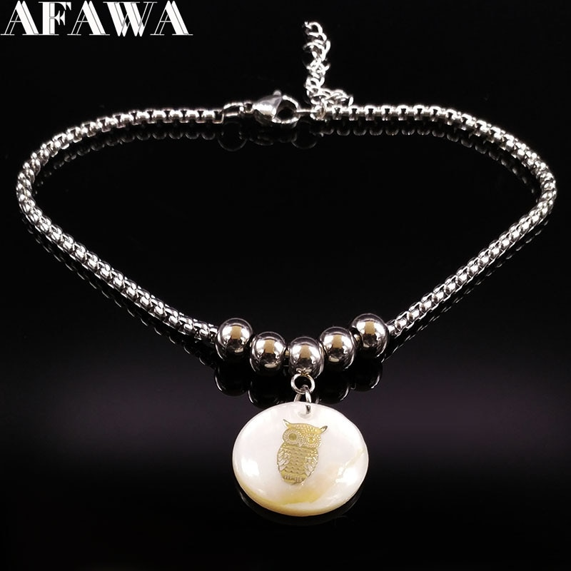 [해외]2018 Fashion Shell Stainless Steel Bracelet Pied Owl Silver Color Ankle Chain for Women Feet Jewelry pulsera tobillo A612305B/2018 Fashion Shell S