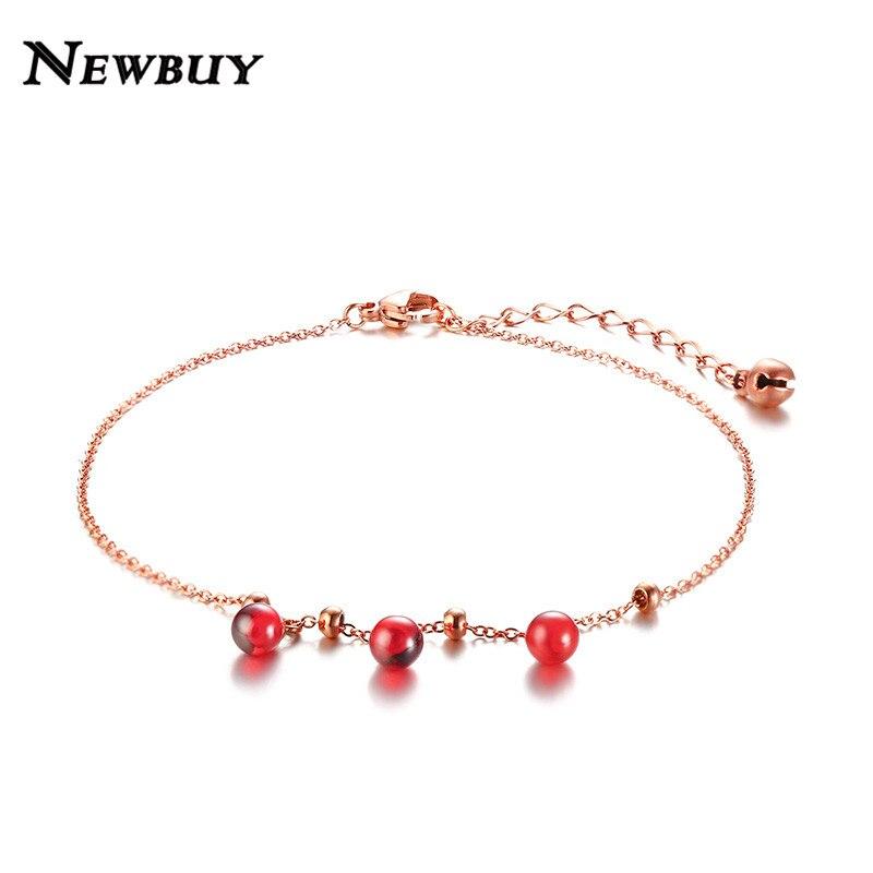 [해외]NEWBUY 2019 Hot Trendy Rose Gold Color Anklets For Women Girl  Stainless Steel Beads Charm Ankle Bracelet/NEWBUY 2019 Hot Trendy Rose Gold Color A
