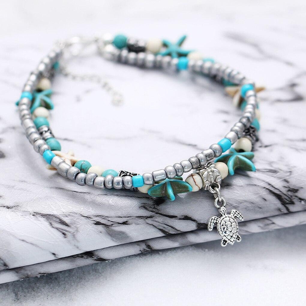 [해외]Women Bohemian Multiple Layers Starfish Turtle Beads Anklets Beach Jewelry Foot Chain Bracelet/Women Bohemian Multiple Layers Starfish Turtle Bead