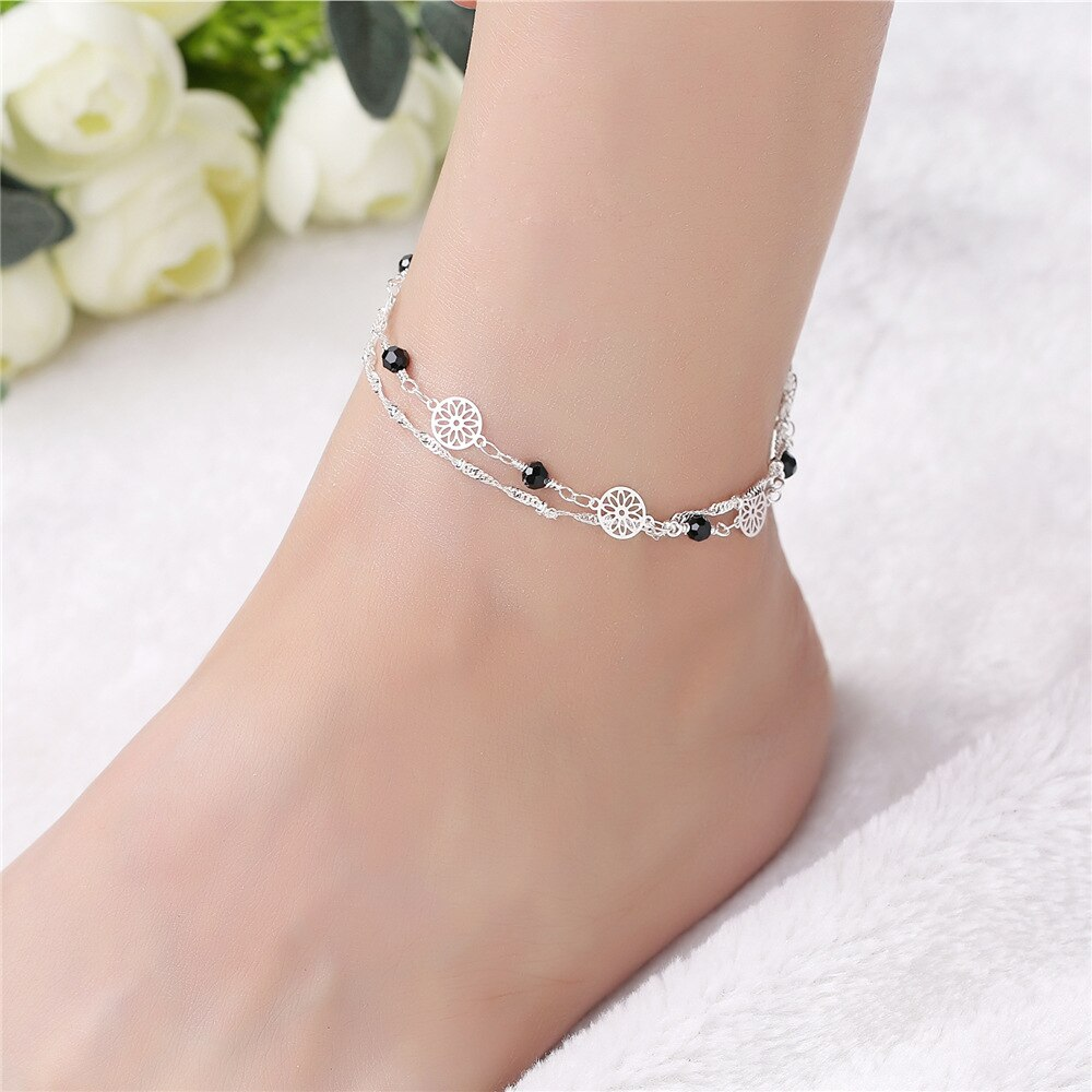[해외]Anklets for women 925 Silver anklet Ms.Korean version fashion simple feet jewelry Anklets For Women Girl crystal Ankle Bracelets/Anklets for women