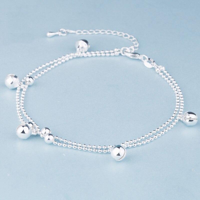 [해외]New Fashion 925 Sterling Silver Beads Chain Anklets Beach Party Small bell Ankle Bracelets For Women Foot Jewelry Gifts/New Fashion 925 Sterling S