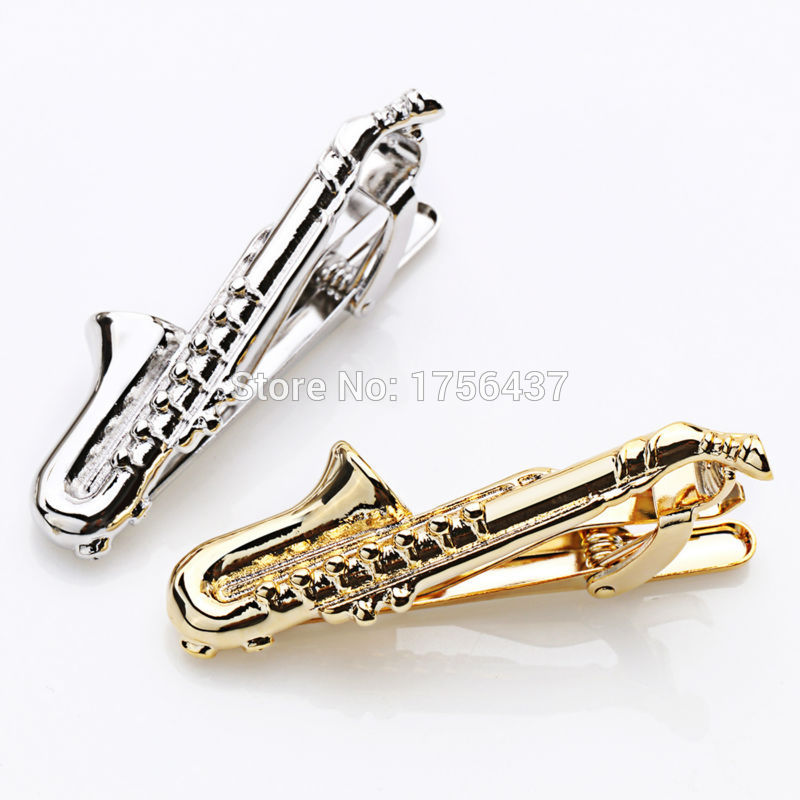 [해외]Lepton Gold & amp; 실버 색상 남자를망 깔끔한 걸쇠 클램프 클립을뮤지컬 색소폰 넥타이 바 비즈니스 웨딩 넥타이 클립 & amp; 커프스 링크/Lepton Gold & Silver Color Musical Sax Tie Bar