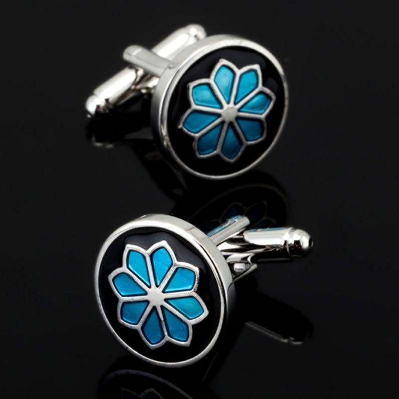 [해외], 새로운 파란색 꽃 커프스 단추 패션 남성 셔츠 커프스 수석 디자이너 독점적 인 웨딩 셔츠 쥬얼리 단추/Free shipping, new blue flower Cufflinks fashion men`s shirt Cufflinks senior designer