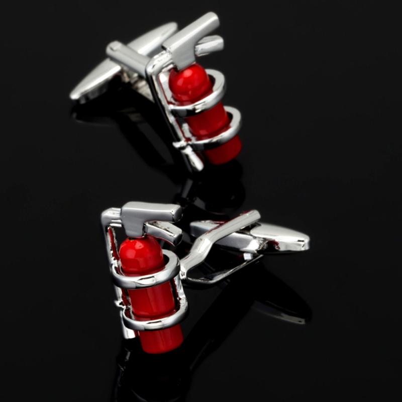 [해외], 새로운 빨간 소화기 커프스 단추 유행 남성 셔츠 커프스 수석 디자이너 독점 화재 로고 쥬얼리/Free shipping, new red fire extinguisher cufflinks fashionable men`s shirt cufflinks senior