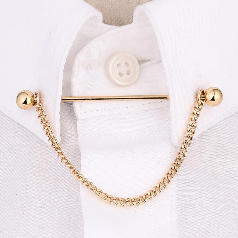 [해외]OBN Brand Gold/Silver Chain Ball Head MensTie Collar Pin Brooch Tie Stick Lapen Pin ShirtCollar Bars Jewelry/OBN Brand Gold/Silver Chain Ball Head