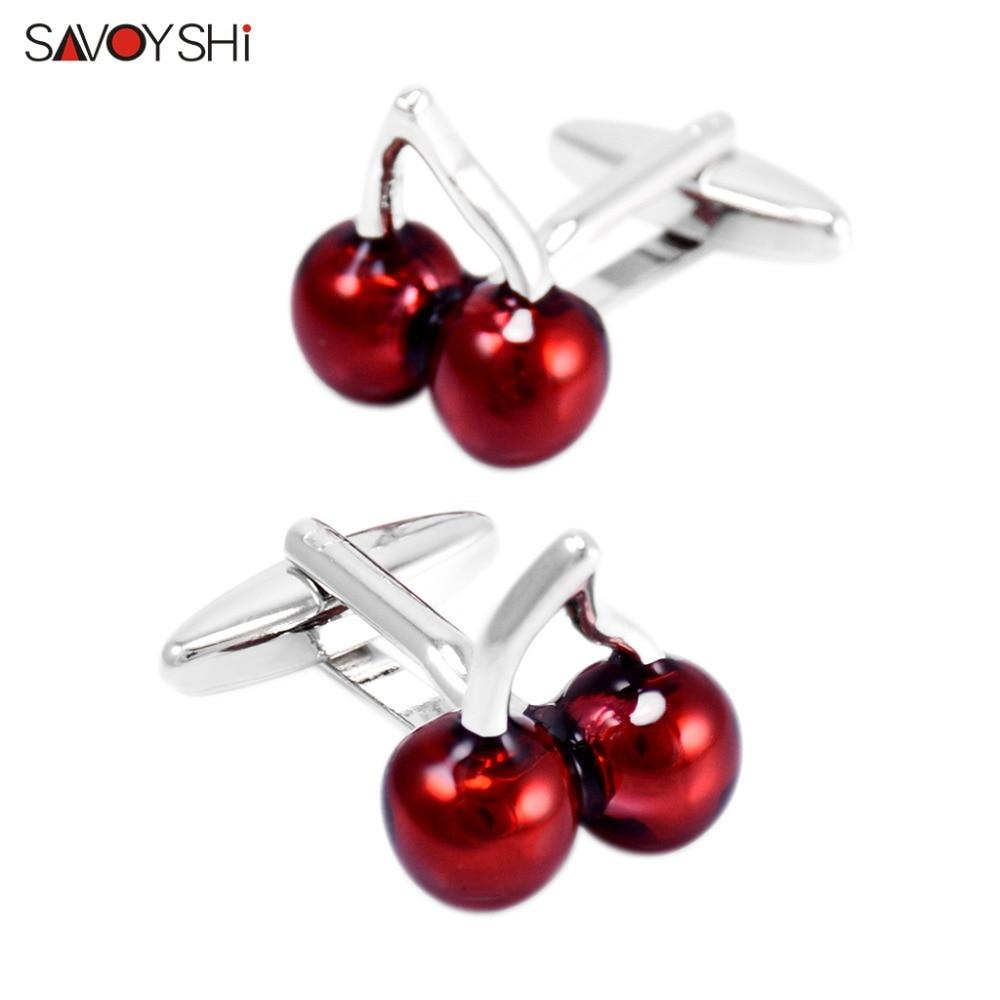 [해외]SAVOYSHI Red Enamel Cherry Cuff Link Personalized Mens Shirt Cufflinks  Wedding Groom Gift Jewelry Free custom name/SAVOYSHI Red Enamel Cherry Cuf