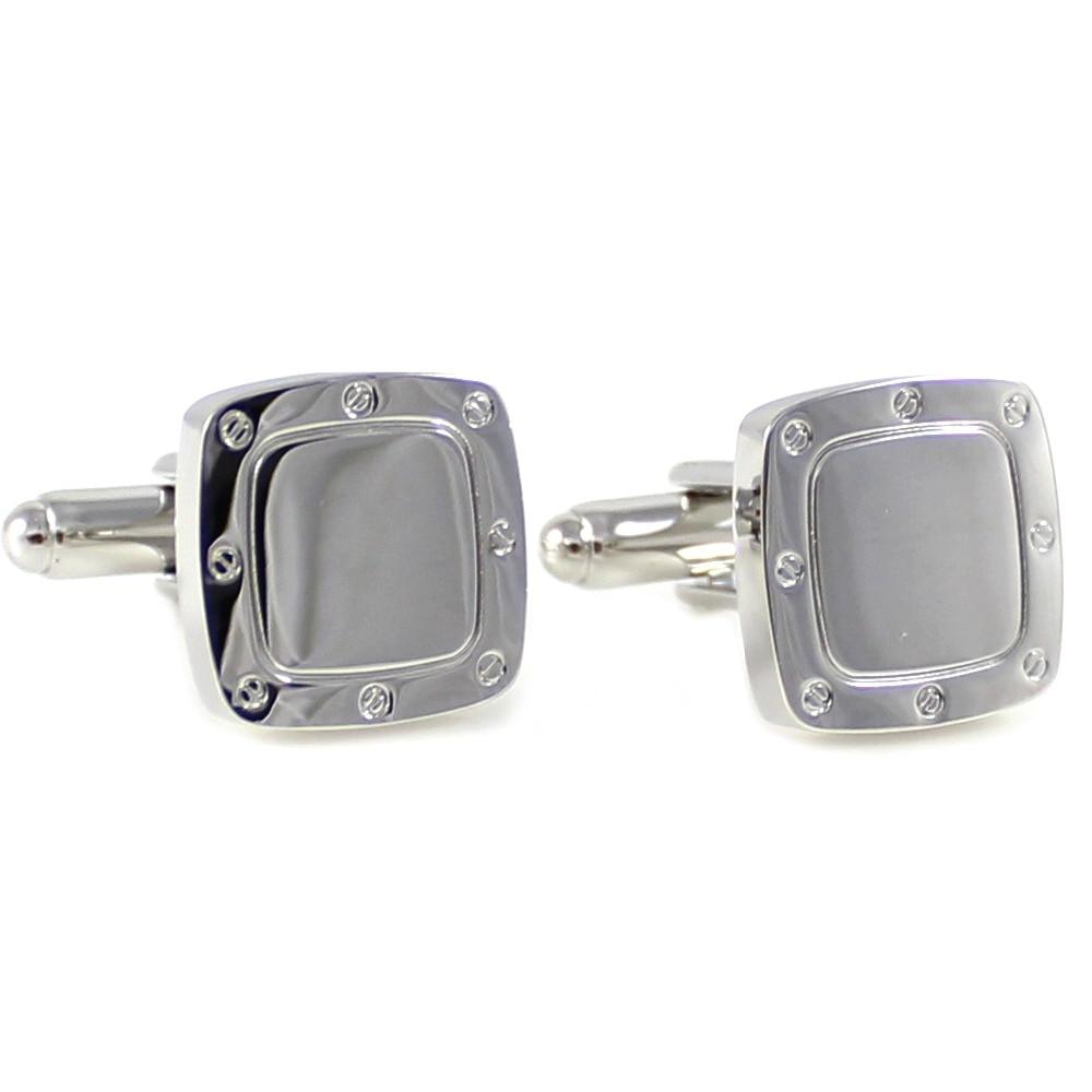 [해외]Silver Tone Soft Square Screw Head Pattern Rim Cufflinks Father`s Day Gift Cuff Links Birthday Wedding Gifts Cuff Links/Silver Tone Soft Square Sc
