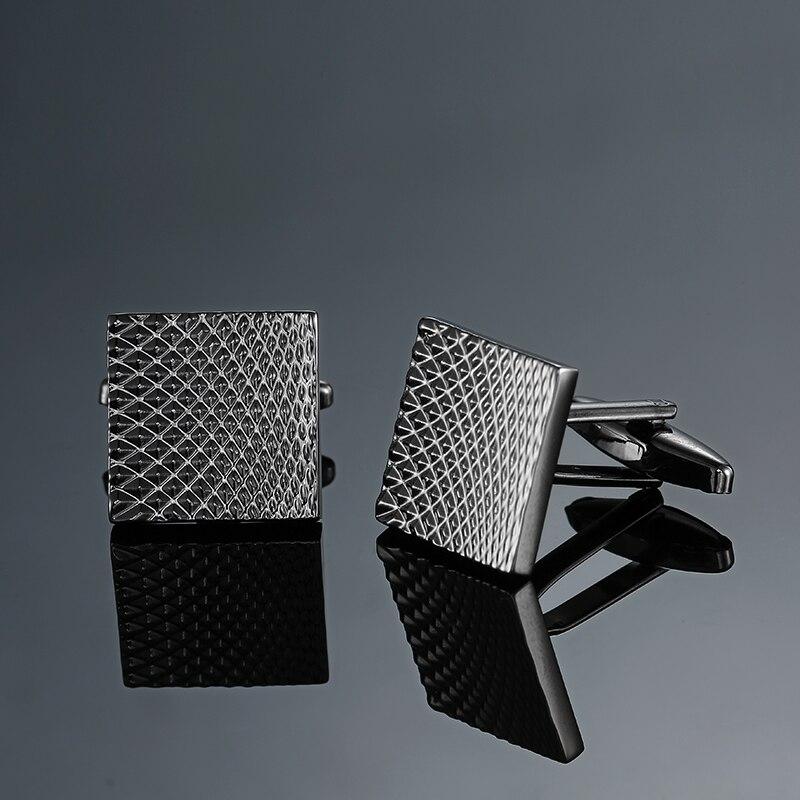 [해외]Classic Square Black Hand engraving Bussiness  cuff links For Men Formal Business Wedding Cufflinks DROP Shipping/Classic Square Black Hand engrav
