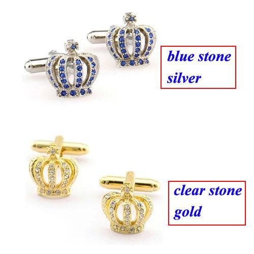 [해외]Fashion Silver Gold Blue Stone White Crown Cufflink Cuff Link 1 Pair  Biggest Promotion/Fashion Silver Gold Blue Stone White Crown Cufflink Cuff L