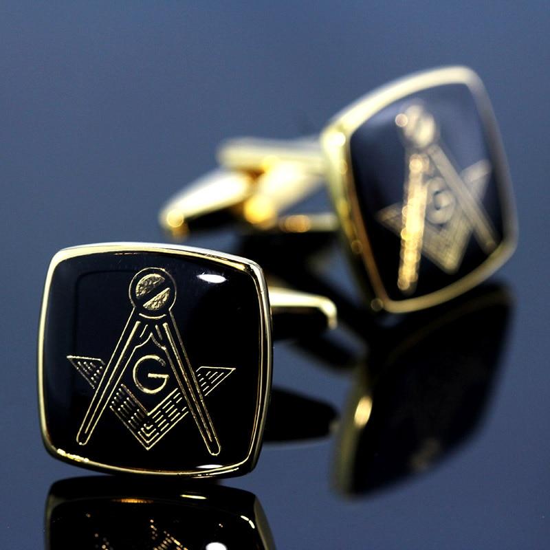 [해외]MeMolissa Vintage Masonic Cufflinks Classic Square Cufflinks GoldBlack Personality Men`s Shirt Cufflinks Gifts for Men/MeMolissa Vintage Masonic C
