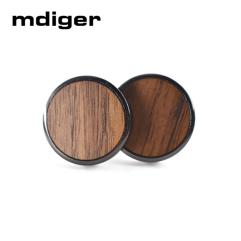 [해외]Mdiger Trendy Round Wooden Cufflinks for Mens Shirt Wood Cuff links for Wedding Party Buttons Cufflink Gentlemen Jewelry/Mdiger Trendy R