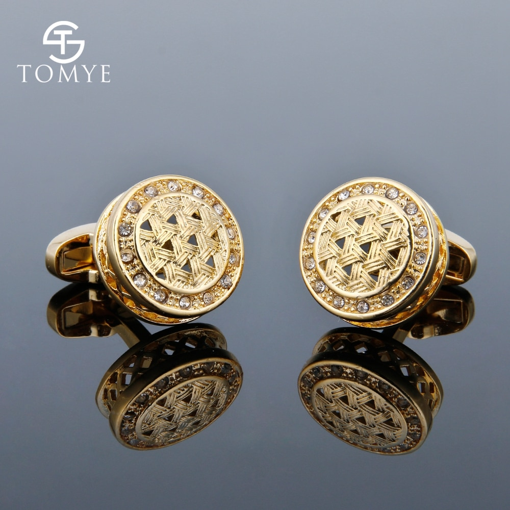 [해외]TOMYE Mens Cufflinks Luxury Crystal High Quality French Shirt Business Gift Gold Cuff Links Jewelry XK18S002/TOMYE Mens Cufflinks Luxury