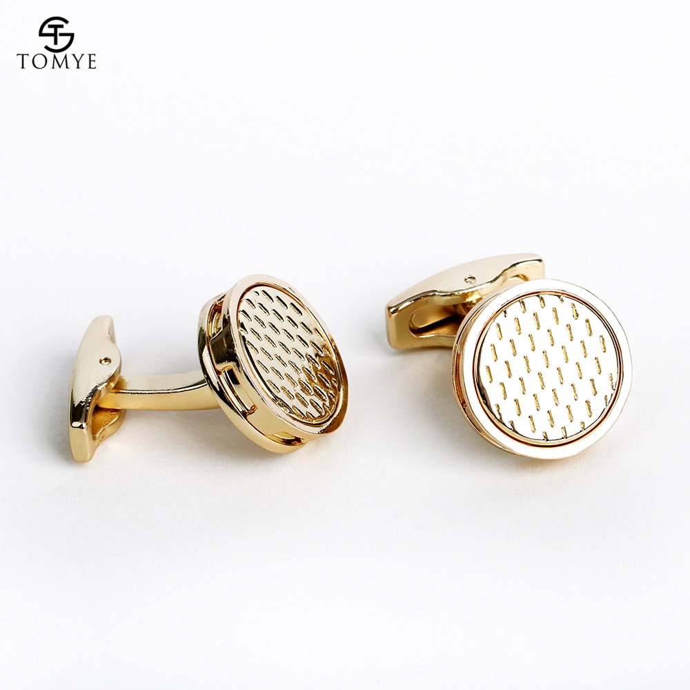 [해외]TOMYE Mens Cufflinks Fashion Round Gold Suit Shirt Wedding Cuff Links Luxury Gift XK19S052/TOMYE Mens Cufflinks Fashion Round Gold Suit