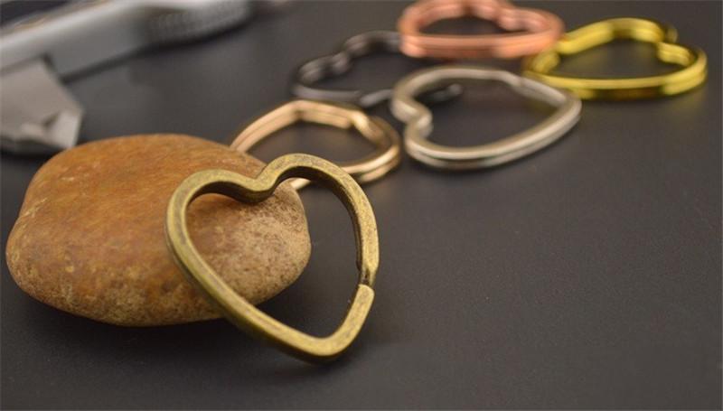 [해외]10pcs 골동품 청동 /로 듐 / 로즈 골드 하트 모양 키 체인 서클 열쇠 고리 결과 DIY 키 체인 반지 서클 액세서리 적합/10pcs Antique Bronze/Rhodium/Rose Gold Heart Shape Keychain Circle Keyring