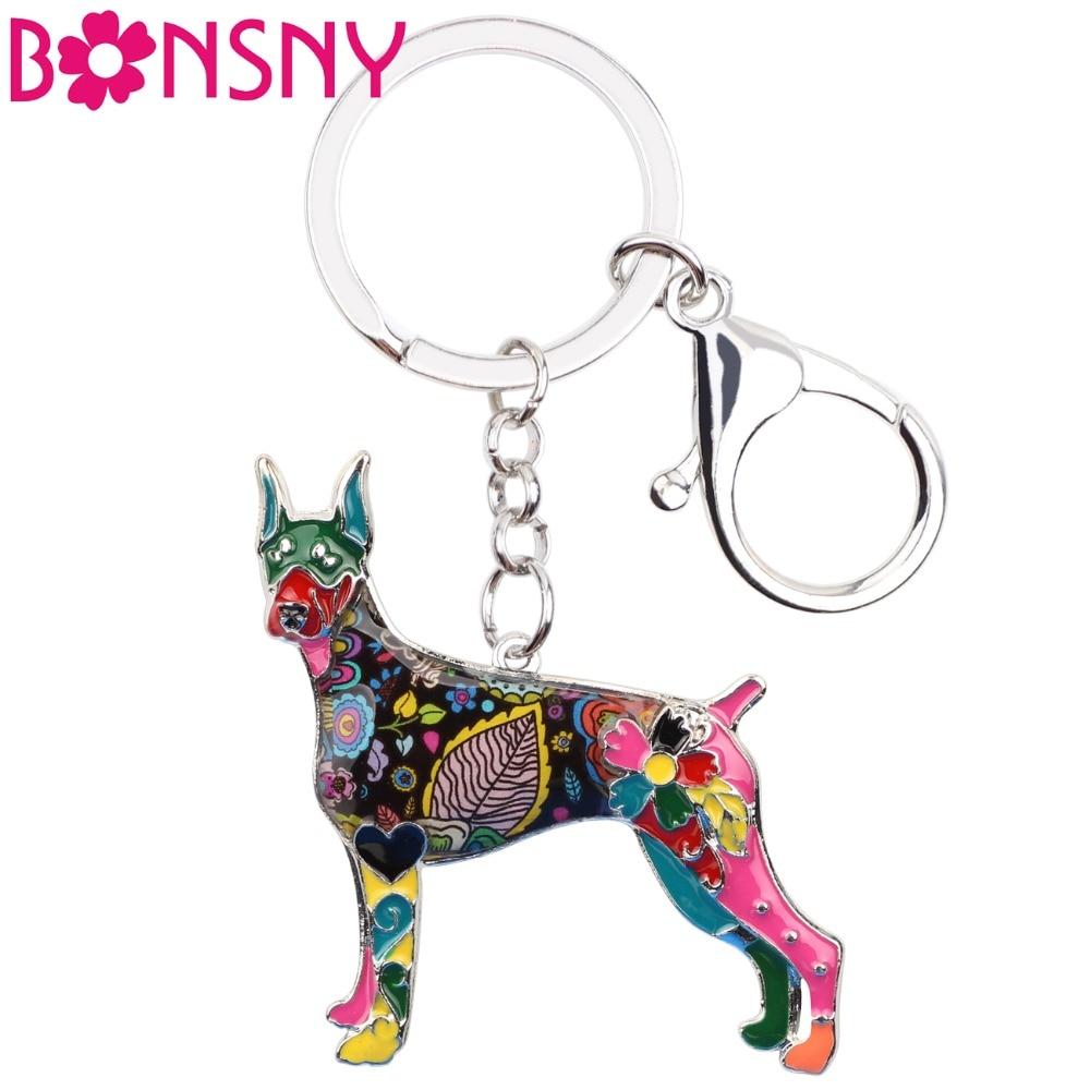 [해외]Bonsny Enamel 합금 Doberman Dog 열쇠 고리 열쇠 고리 여성용 지갑 지갑 펜던트 자동차 열쇠 고리 2018 New Keychain Charms/Bonsny Enamel Alloy Doberman Dog Key Chain Key Ring Jew