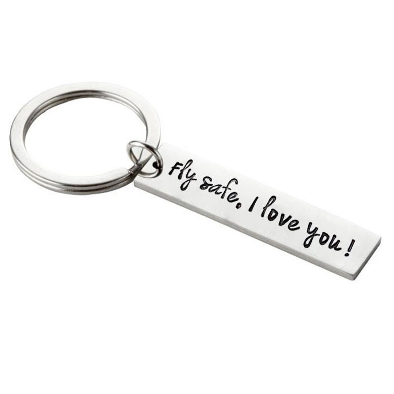 [해외]스테인레스 스틸 키 체인 플라이 세이프 당신을 사랑합니다 편지 키 체인 여행 열쇠 고리 연인 선물 여행 선물 Flight Attendant Keychain/Stainless Steel Keychain Fly Safe I Love You Letter Key Cha