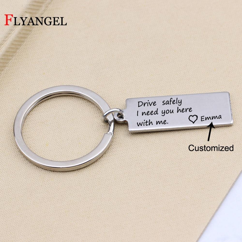 [해외]개성 맞춤 이름 드라이브 안전 하 게 당신이 여기 필요 새겨진 된 키 체인 스테인리스 자동차 키 링 커플 선물/Personality Customized Name Drive Safely I need you hereme Engraved Keychain Stainle