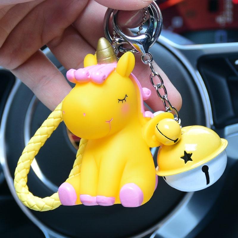 [해외]크리 에이 티브 레인보우 PVC 동물의 유니콘 모양의 펜던트 키 체인 남자 여성 가방 전화 자동차 펜던트 열쇠 고리 Porte Clef keyring/Creative Rainbow PVC Animal Unicorn Shaped Pendant Keychain fo