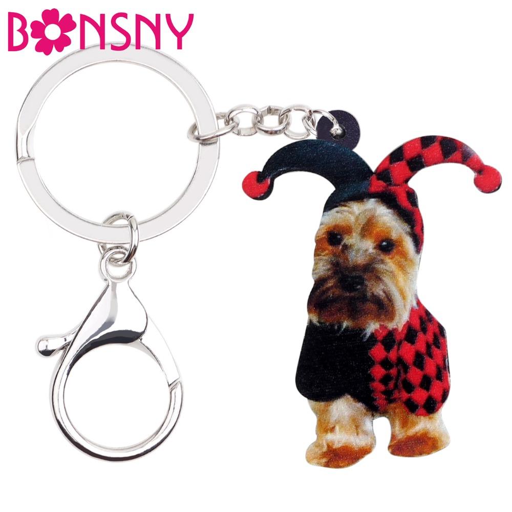 [해외]Bonsny 아크릴 할로윈 요크셔 테리어 강아지 조커 키 체인 키 체인 반지 의상 여자를애완 동물 보석 여자 가방 매력 선물/Bonsny Acrylic Halloween Yorkshire Terrier Dog Joker Key Chain Keychain Ring