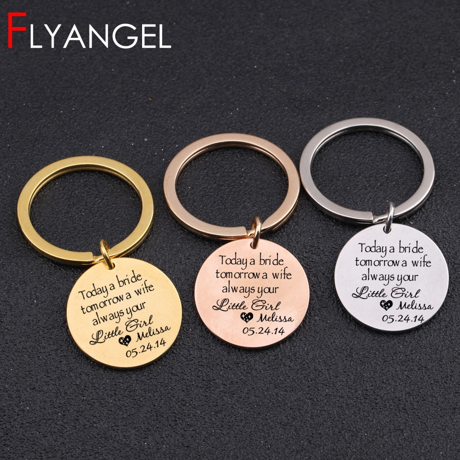 [해외]Custom Name And Data Fashion Key Chain Engraved Heart Today A Bride Tomorrow A Wife Always Your Little Girl Bride Keyring Gifts/Custom Name And Da