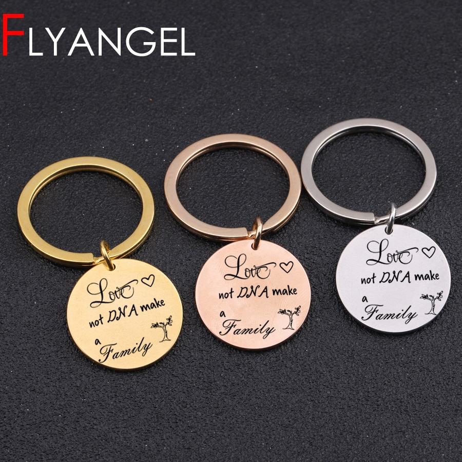 [해외] Creative Keyring Stamped Tree Love Not DNA Make A Family Adoption JEWELRY Keychain  Bag Charm Stepparents Gifts/ Creative Keyring Stamped Tree Lo