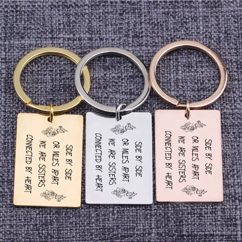 [해외]Side By Side Or Miles Apart We Are Sisters Connected By Heart Engraved Keychain Key Tag For Sisters Best Friends Pendant/Side By Side Or Miles Apa