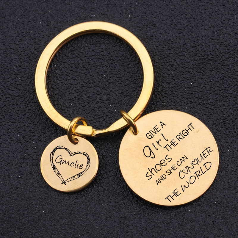 [해외]Keychain Engraved Give A Girl The Right Shoes Pendnat Jewelry Keyring Bag Charm Creative Customized Name In The Heart Engraved/Keychain Engraved G