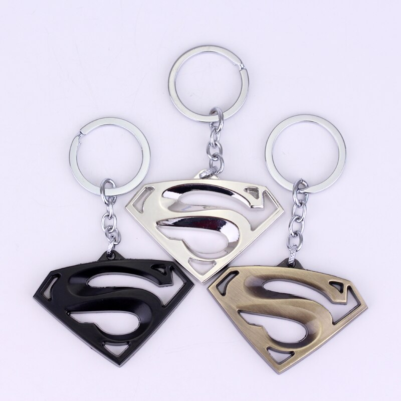 [해외]Nuevo Superman llavero de logotipo de Super heroe 3D Logotipo de Metal colgante llavero clave cadena regalo para los Fans de la pelicula Superman