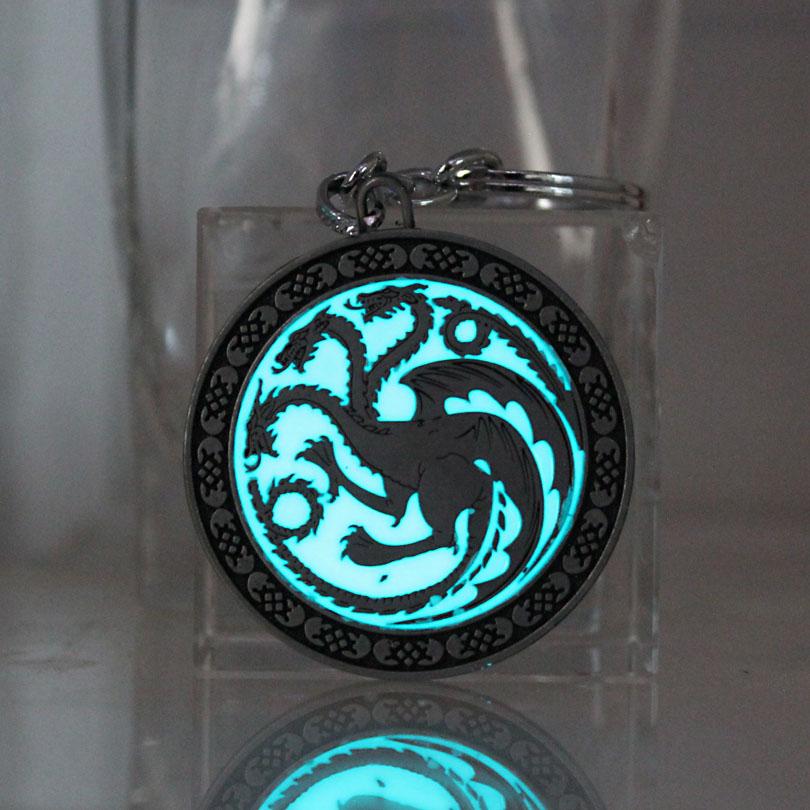 [해외]The Song Of Ice And Fire Game Of Thrones Daenerys Targaryen Dragon Badge keyChain GLOW in the DARK Luminous Pendants /The Song Of Ice And Fire Gam