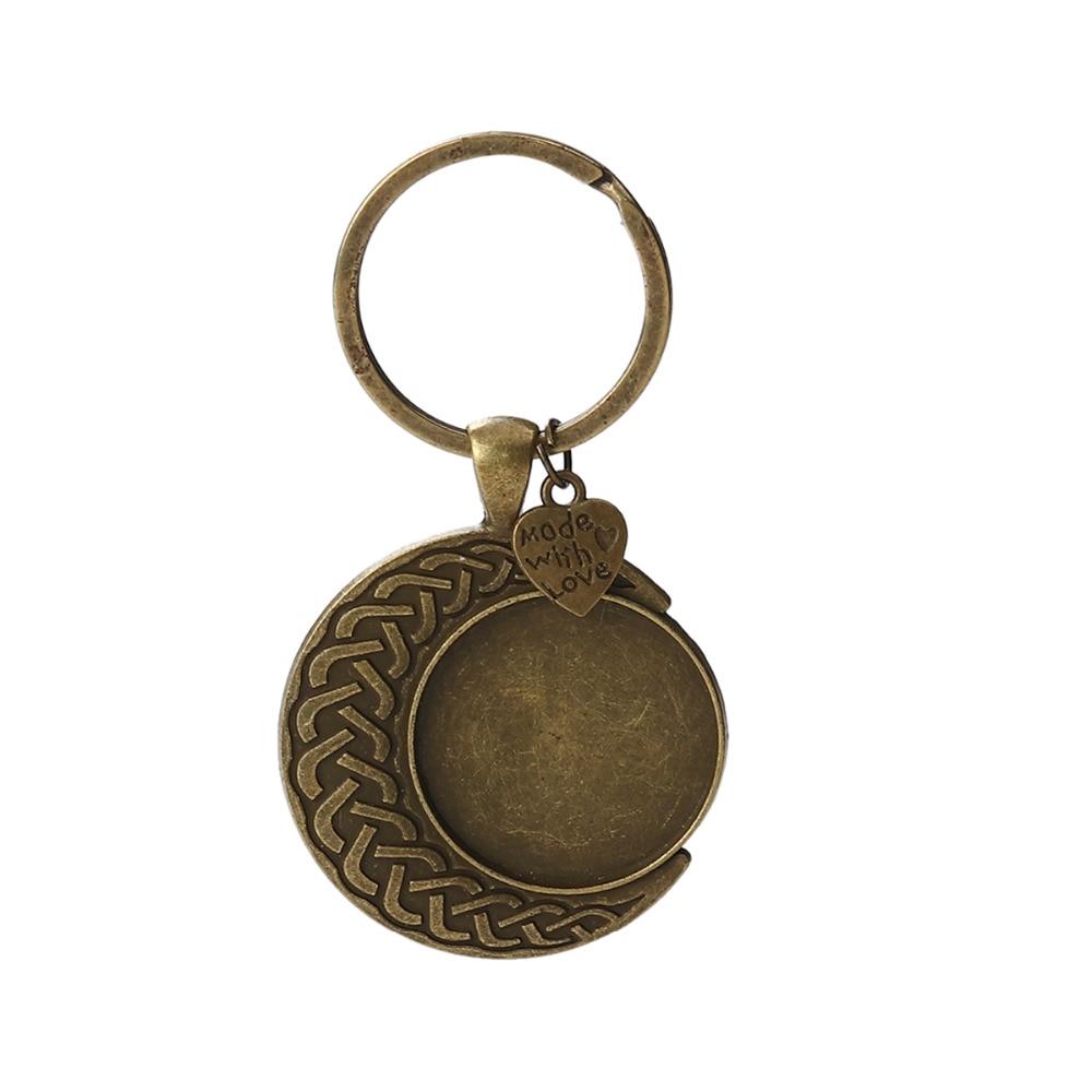 [해외]8Seasons Zinc Based Alloy Keychain & Keyring Half Moon Antique Silver Heart \